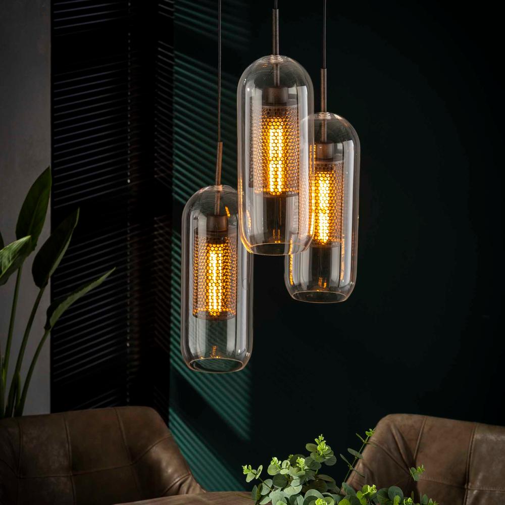 Hangelampe Industrial Lochstahl Glas 3er In 2020 Beleuchtung Decke Hangelampe Industrial Lampe