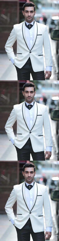 2017 Fashion Mens Suits Custom Made White Groom Tuxedos Wedding ...