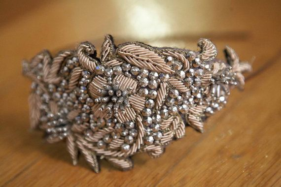 Taupe and Silver Sequin/Beaded Headband with by HeartFeltByAviva, $46.00