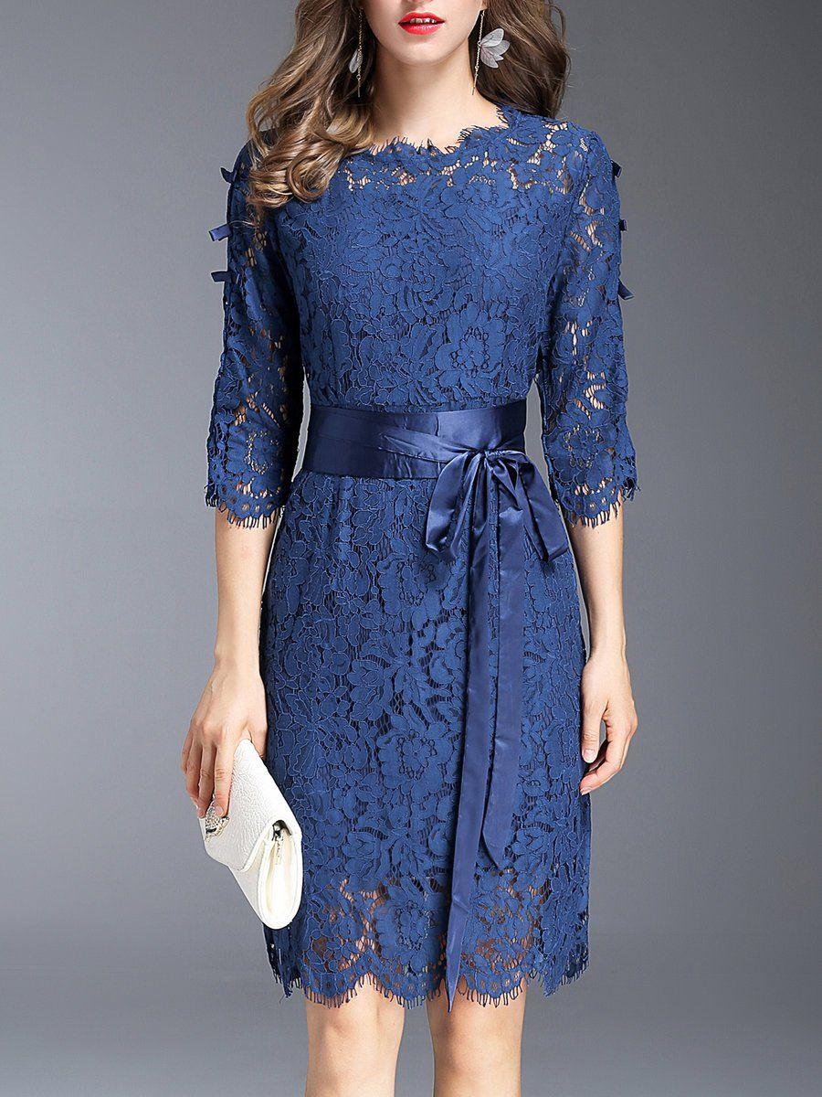 Aline Lace Elegant Midi Dress Model baju wanita, Gaun