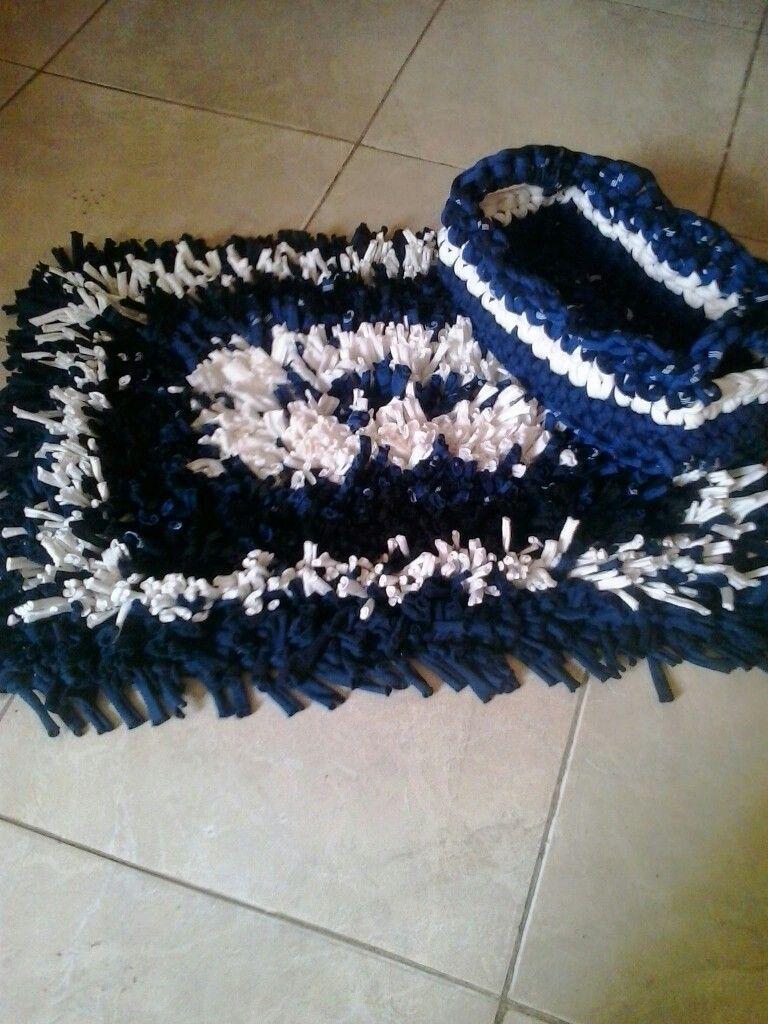 Alfombra+ canasta   trapillo y crochet   Pinterest   Canastilla y ...
