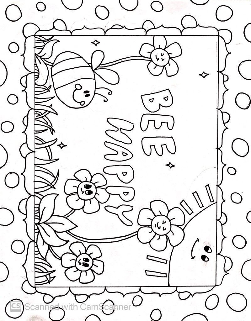 Bee Happy Coloring Page Made By Evie For March Of The Blanketeers Coloring Pages Bee Happy Bee