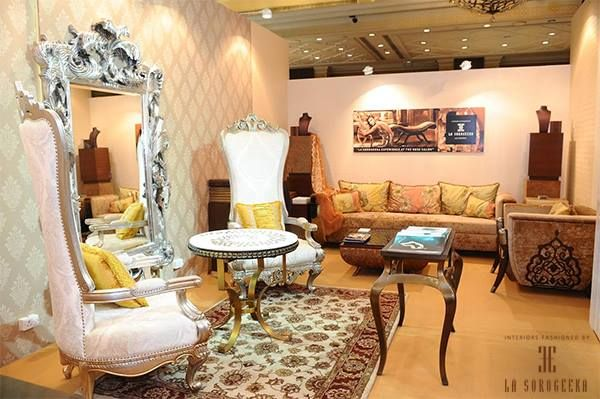 Celebrate Weddings In Style And Opulence Silver Chairs With Soft Patterned Seats And Cushions Ornate Mirror O Interior Interior Design Luxury Interior Design