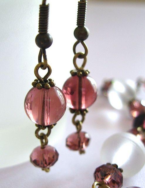 Cranberry glass earrings Handmade jewelry