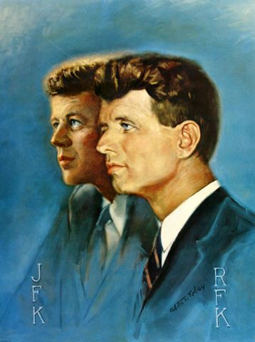 """""""Brothers United"""", Robert and John F. Kennedy, 1968, by Alton S. Tobey, USA."""