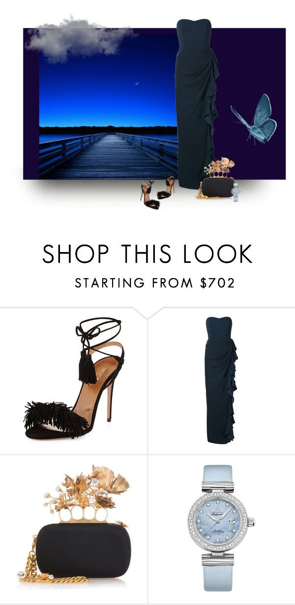 """""""Blue Gown -  Blue Evening"""" by michelletheaflack ❤ liked on Polyvore featuring Aquazzura, Badgley Mischka, Alexander McQueen, OMEGA and blueballgown"""