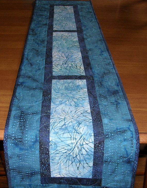 Caribbean Blues Quilted Table Runner Batik Quilt By Hollyshutch Quilted Table Runners Christmas Table Runners Quilted Table Runners