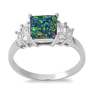 Sterling Silver Solid Princess Cut Black Opal / CZ Ring Sz 5-9 150276123456