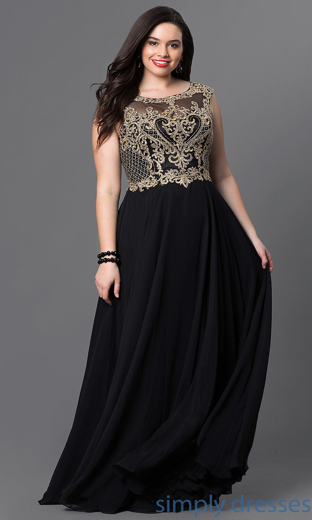93cdac1f9e4 Long Plus Formal Prom Dress with Embroidered Bodice