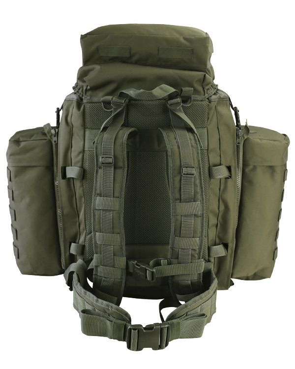 Kombat Molle Tactical Assault Pack With Side Pouches 90L Olive Green ... 29659e62d9aa8