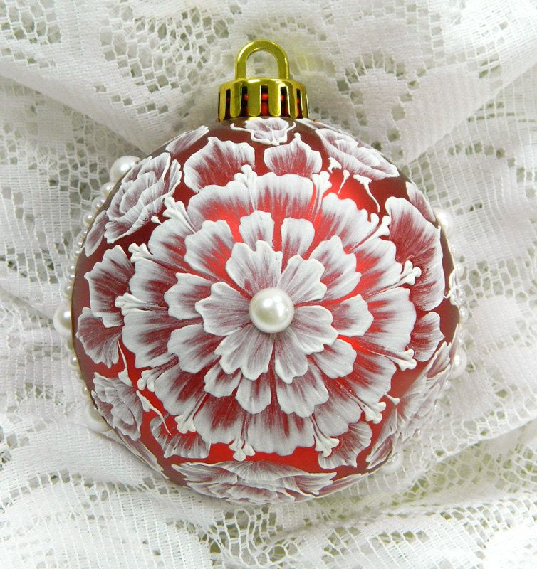 Red MUD Floral Ornament with Pearls.  via Etsy.