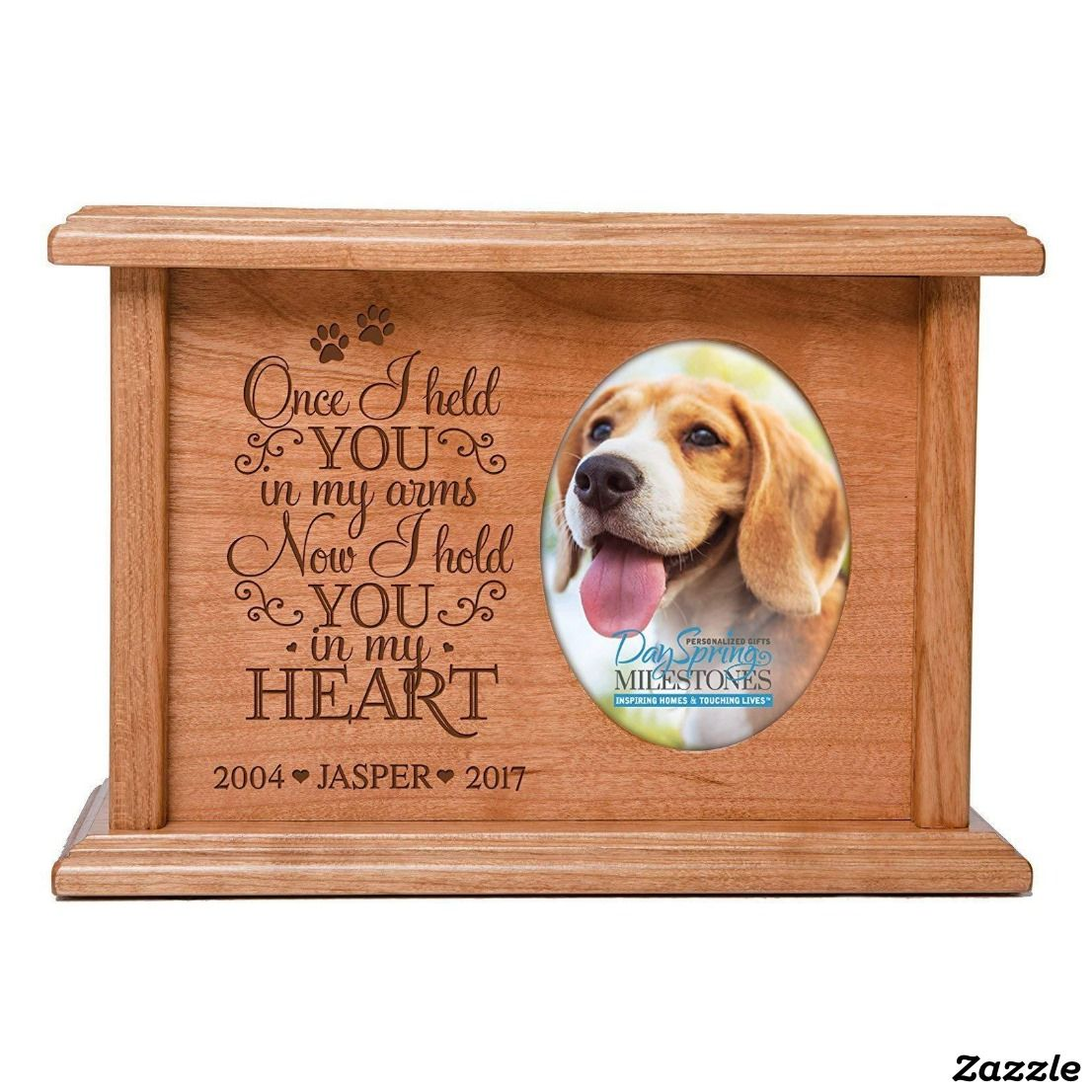 Once I Held You Cherry Wood Pet Cremation Urn