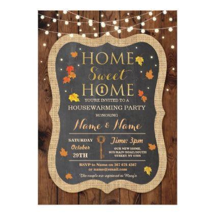 Home Sweet Home Housewarming Fall Leaves Invite - rustic gifts ideas - fresh invitation card wordings for housewarming