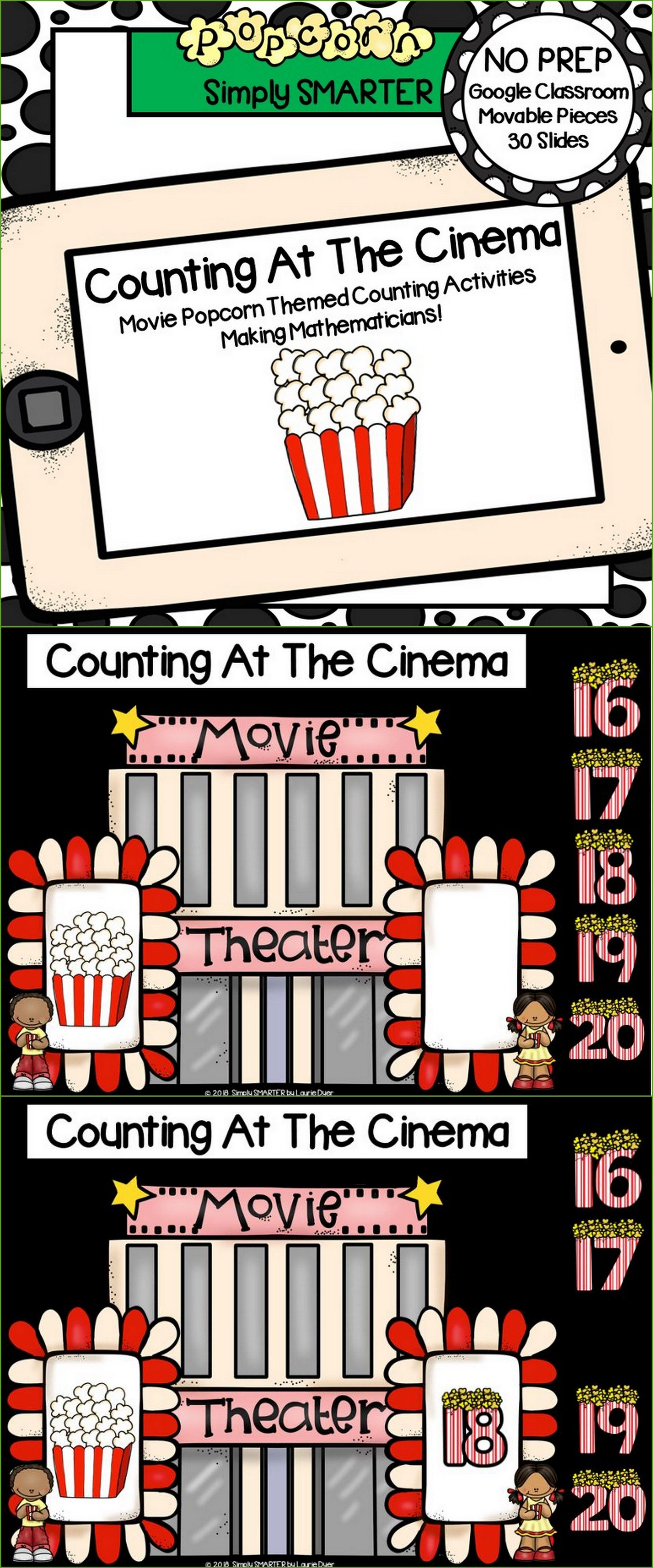 Movie Popcorn Themed Counting 1 30 Activities For
