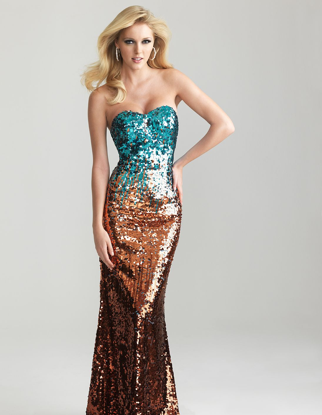Orange and black sequin dress
