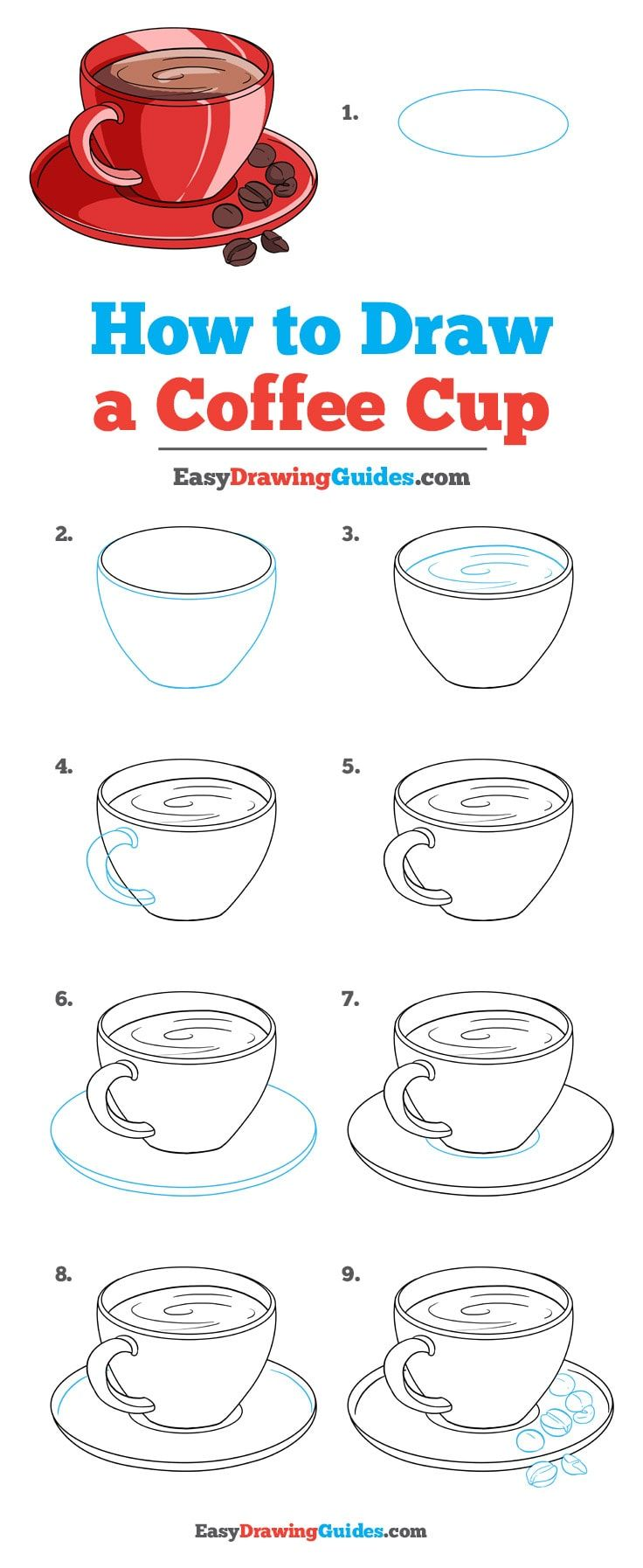 How To Draw A Coffee Cup Really Easy Drawing Tutorial Art