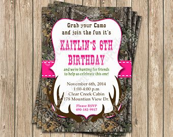 Camo Girl Hunting Birthday Party PRINTABLE By CupcakeExpress