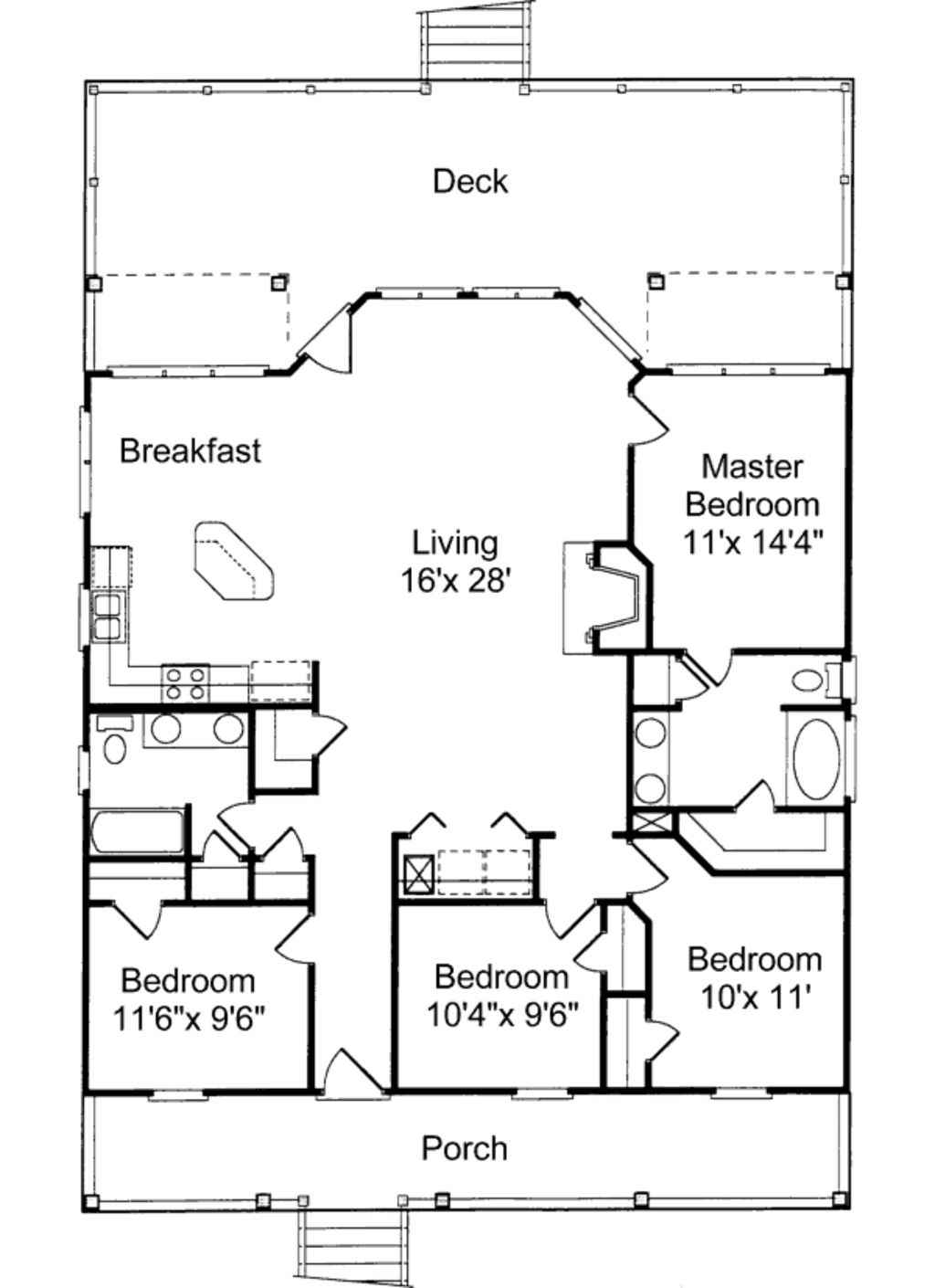 Houseplans with 2 master bedrooms  Beach Style House Plan   Beds  Baths  SqFt Plan