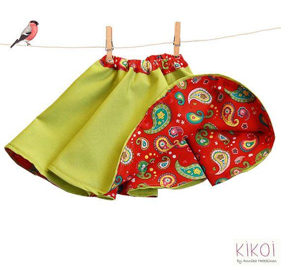 Girls skirt pattern pdf - reversible skirt ebook tutorial - sizes 6m to 9 years