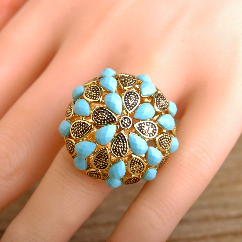 Blucome Latest Design Big Flower Shaped Rings For Women Hollow Out ...