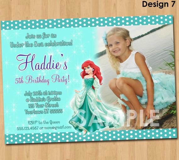 Ariel The Little Mermaid Invitation Printable Princess Birthday