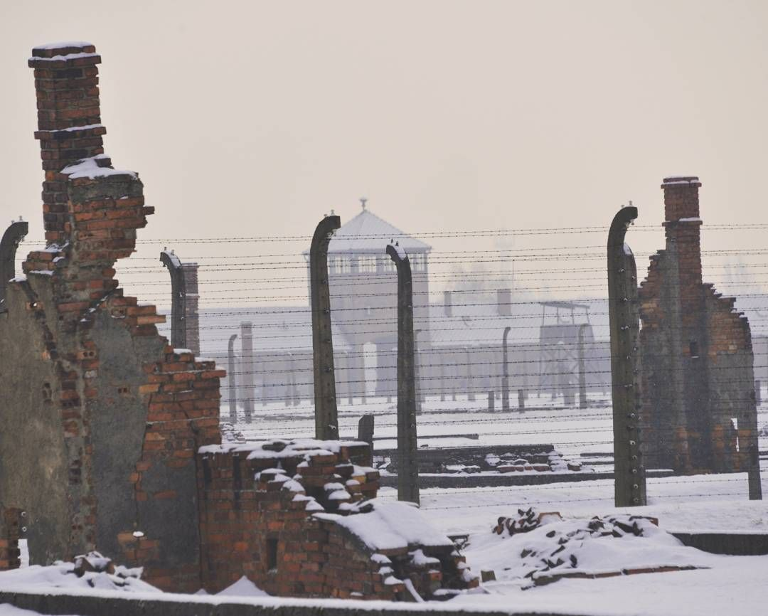 Auschwitz II-Birkenau. The main watch tower of the camp seen from ...