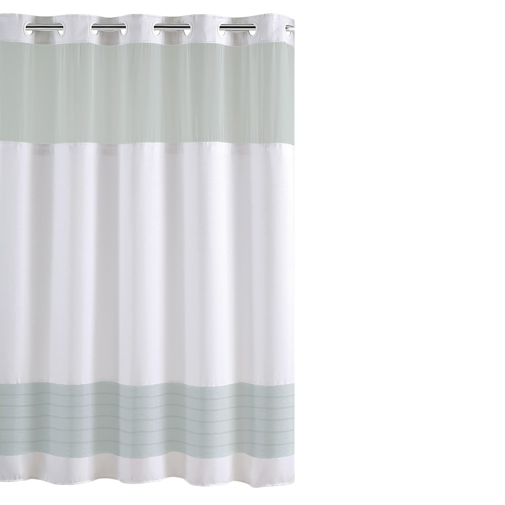 Hookless Color Block Shower Curtain With Fabric Liner Blue