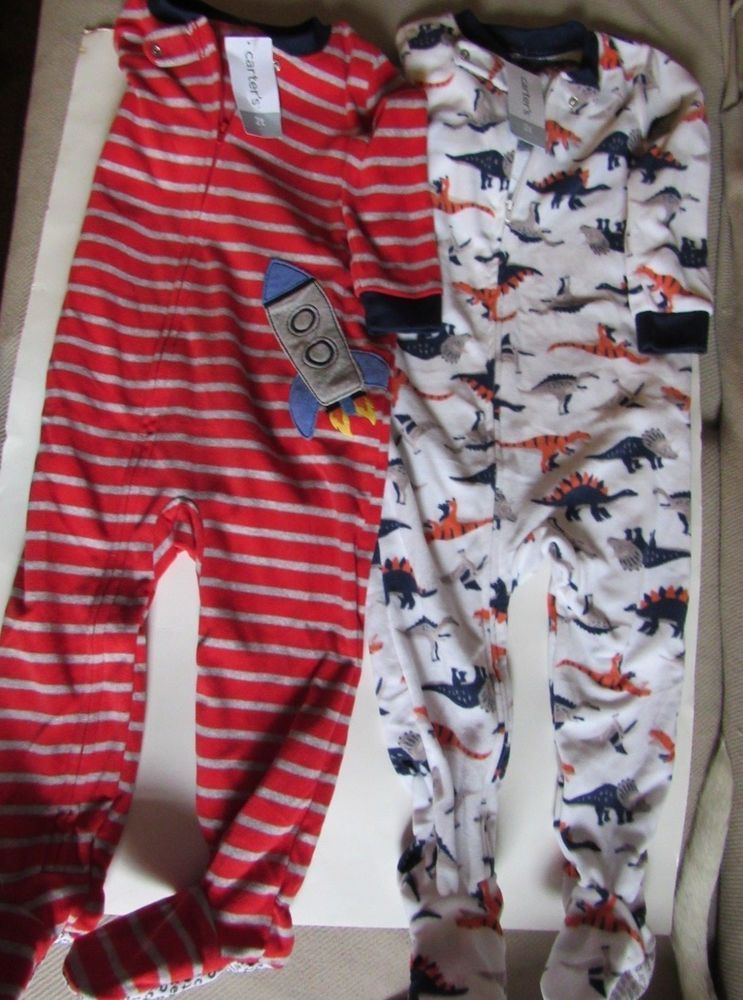 5f1d22afca9e Carters Fleece Pajamas 2T Dinosaurs AND Striped Rocketship NWT  Carters   OnePiece Boys Footed Pajamas
