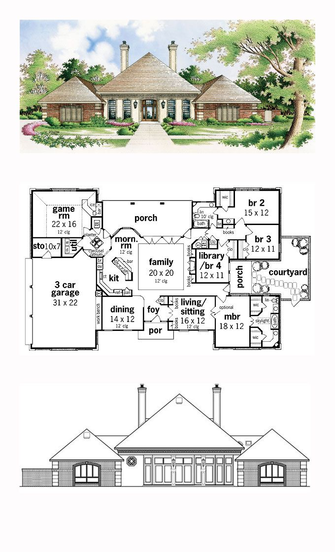 COOL House Plan ID chp 16986 Total Living Area 2791 sq