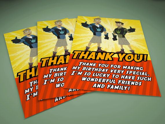 Wild Kratts Thank You Card 4 Quot X 6 Quot Kids Invitations