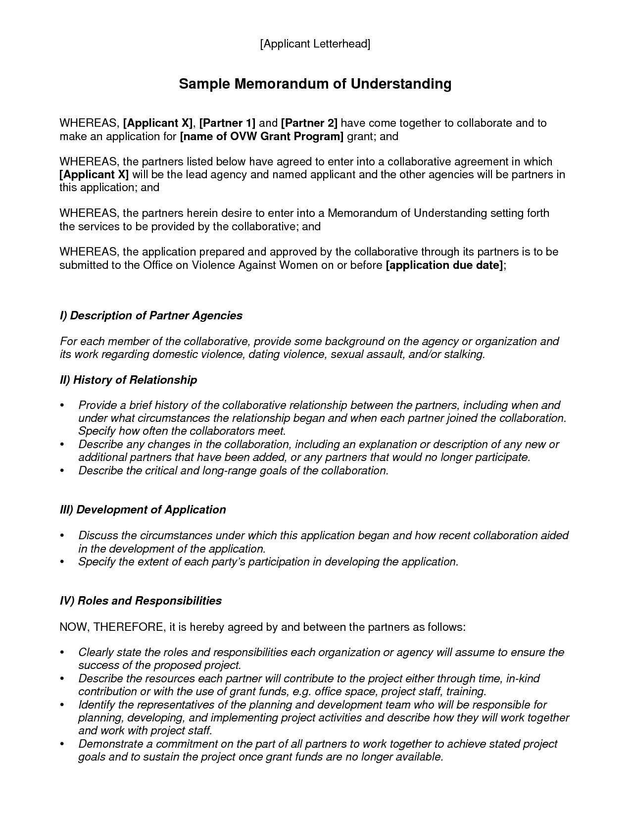 Memorandum Of Understanding Template Best Template