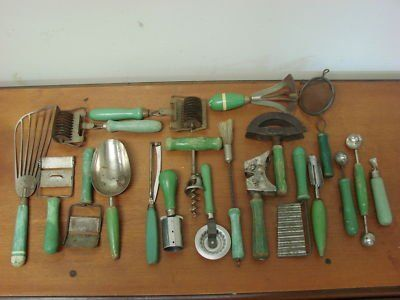 High Quality Terrific Old Kitchen Utensils With Green Wood Handles.