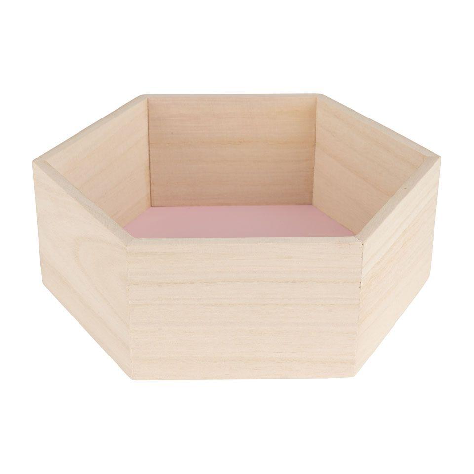 Wandkastje 6 kantig klein roze Xenos Meisjeskamer