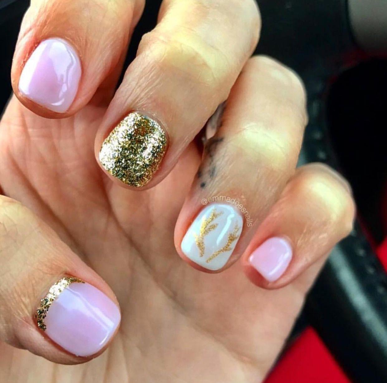 Emmadoesnails pink nails Christmas nails winter nails antler nails ...