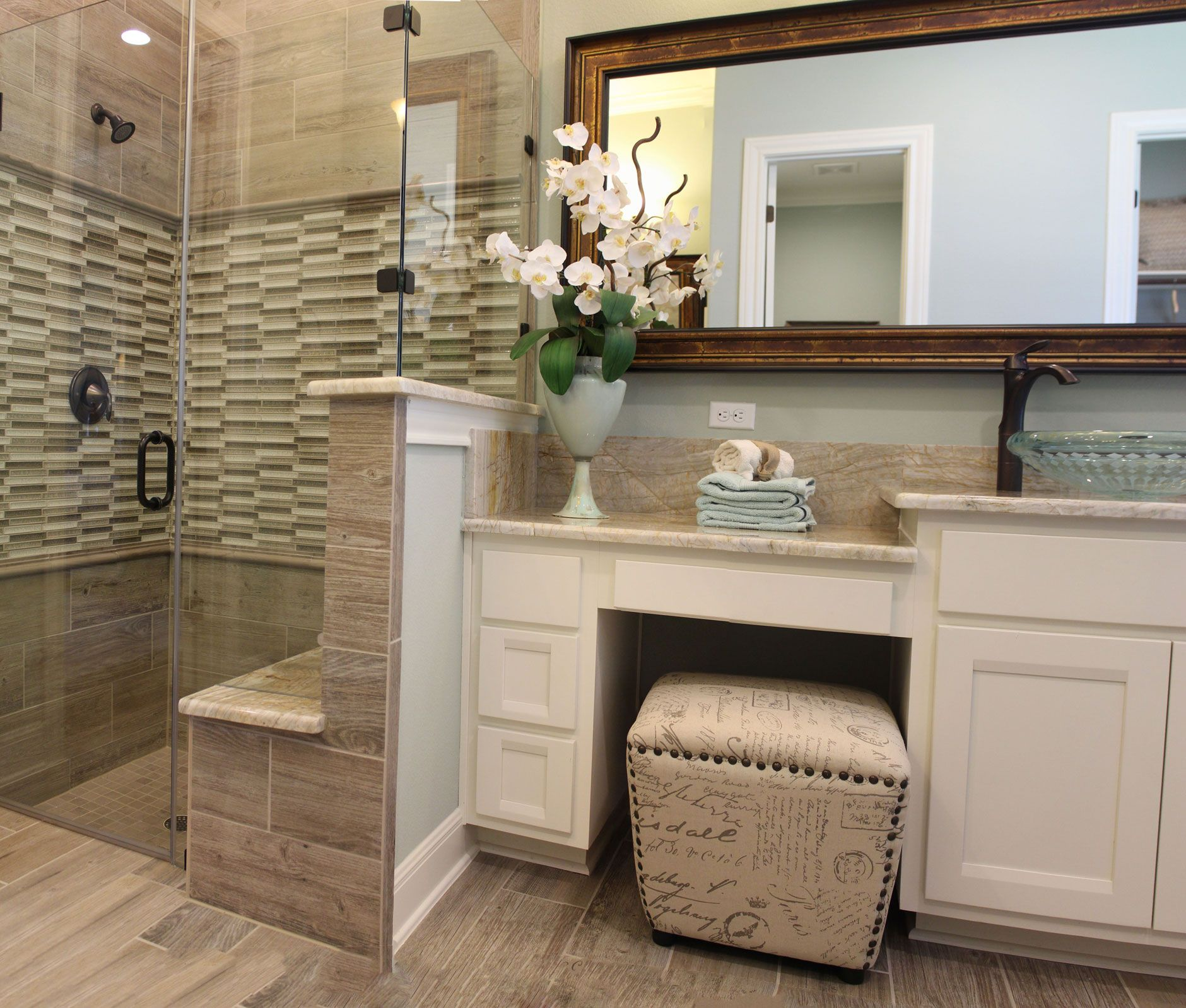 "Master Bathroom Knee Wall sink, makeup vanity same height"" ""love the drawers and counter"
