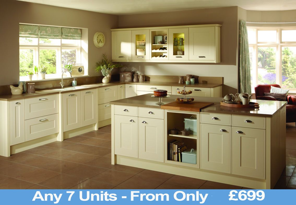 Shaker Ivory Cream Modern Classic Kitchen Complete Fitted Units Cabinets New Ebay Shaker Style Kitchen Cabinets Beige Kitchen White Shaker Kitchen