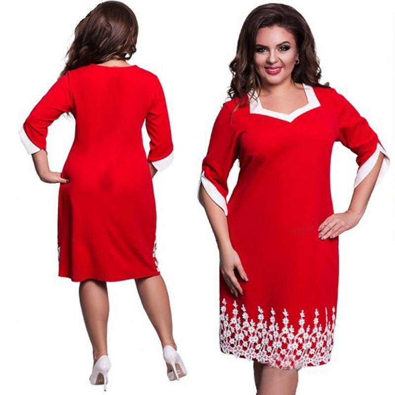 2018 Women Clothes Plus Size Dress New Lace Patchwork Big Sizes