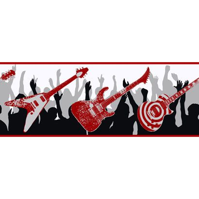 Black and Red Guitar Wallpaper Border Wall Sticker