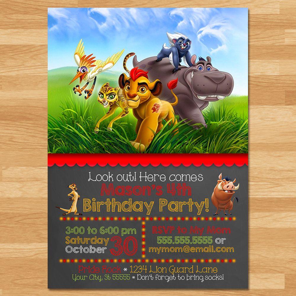 Printable Birthday Party Invitation Card Detroit Lions: The Lion Guard Invitation