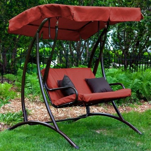 2 Seat Outdoor Porch Swing With Canopy In Terracotta Red Outdoor