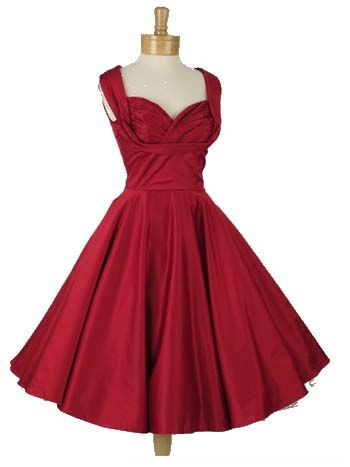 83803ac2ff2 1950s style red shelf bust party dress