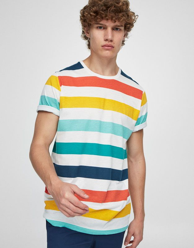 Camiseta rayas multicolor - Novedades - Hombre - PULL&BEAR ...