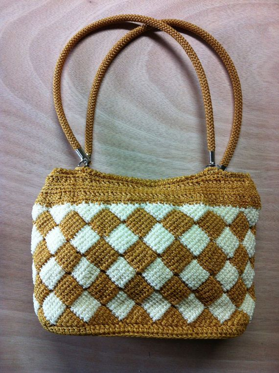 Vintage Mustard White Diamond Crochet Tote Zip Closure