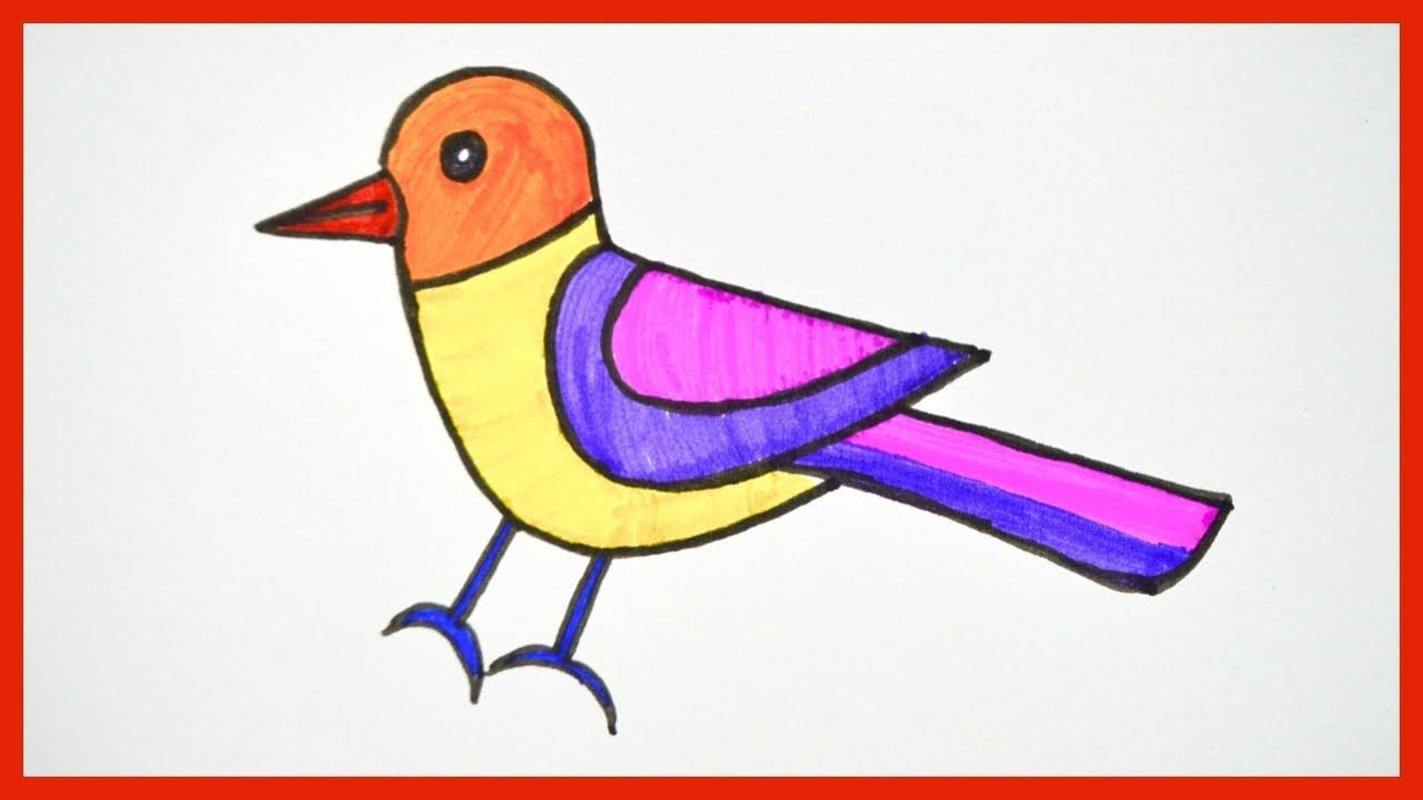 How To Draw A Bird Step By Step Drawing Coloring For Kids Bird Drawings Bird Drawing For Kids Easy Drawings For Kids