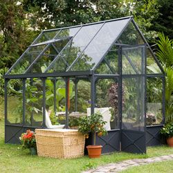 Serre de jardin FACTORY Fabulous Garden aluminium gris et verre de 5 ...
