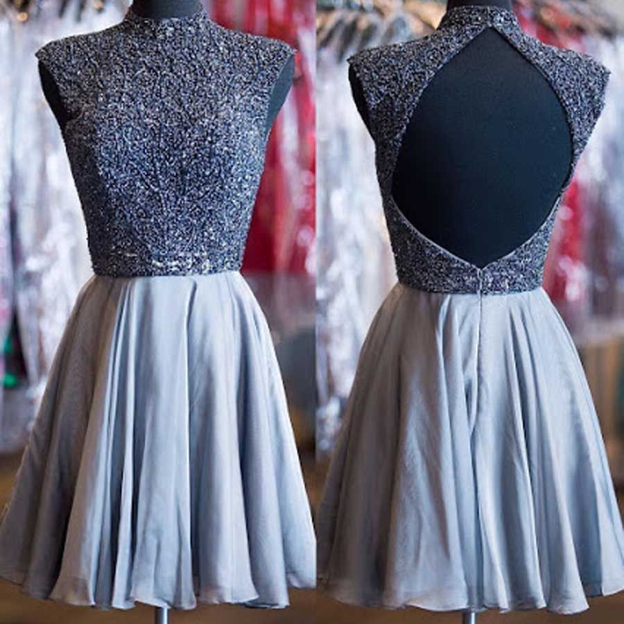 Grey lace wedding dress  Grey beads sparkly high neck open back vintage elegant homecoming