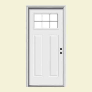 White Entry Doors 36 in. x 80 in. steel white prehung left-hand inswing 6-lite