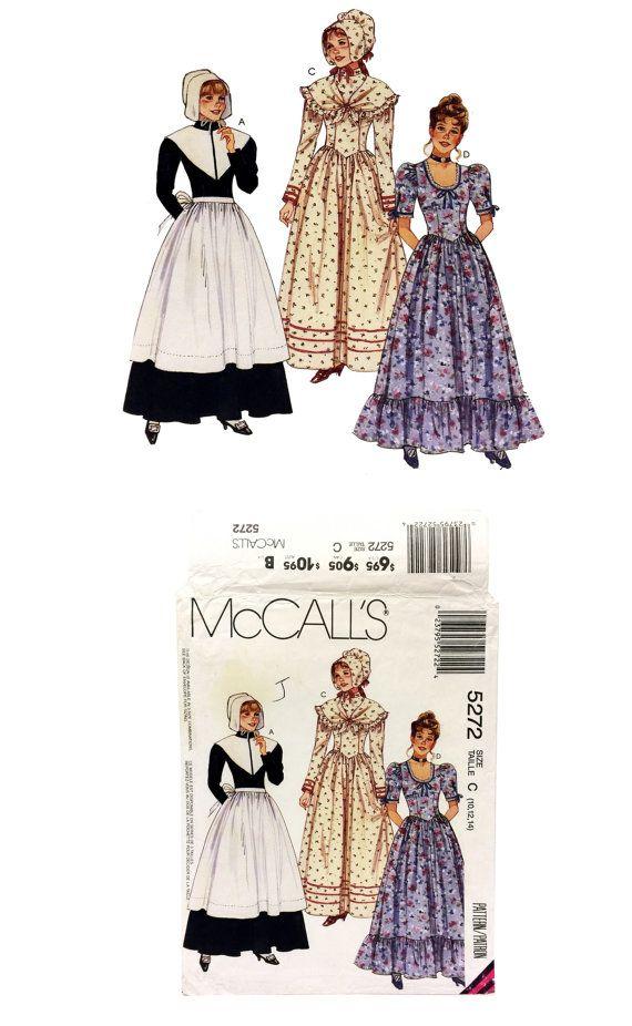 Vintage McCallu0027s 5272 Sewing Pattern Misses Pilgrim Costume Pattern Misses Colonial Dress u0026 Bonnet Pattern Misses Historical Costume Pattern  sc 1 st  Pinterest & Vintage McCallu0027s 5272 Sewing Pattern Misses by UpstairsAttic ...