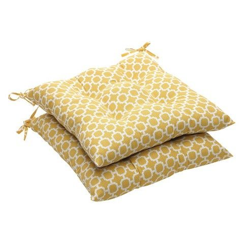 Outdoor 2 Piece Tufted Chair Cushion Set   Yellow/White Geometric