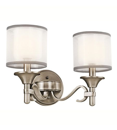 Photo of Lacey 2 Light 14 inch Antique Pewter Vanity Light Wall Light